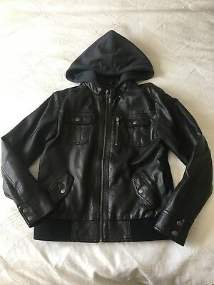 Boys size 10 Leather look hooded jacket in excellent condition