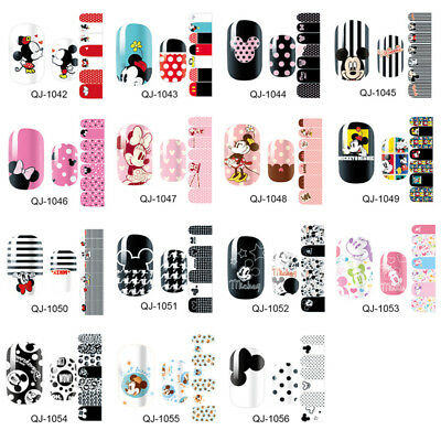Full Cover Nail Polish Wraps Stickers Mickey Mouse Cartoon Foils Decals 14 Tips