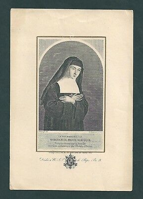 santino - holy card - incisione - engraving: B. MARGHERITA M. ALACOQUE