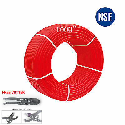 """1/2"""" x1000ft Pex Tubing Oxygen Barrier EVOH Red 1,000ft Heating with Free Cutter"""
