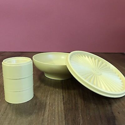 Vintage Retro Tupperware Container Bowl with Lid & 3 Egg Cups Collectable