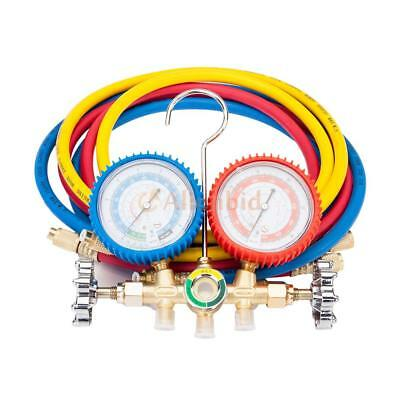 R134a R12 R22 A/C Manifold Gauge Set 5FT Colored Hose Air Conditioner 3.30lbs