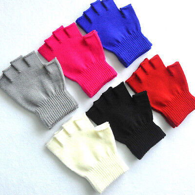 1Pair Solid Color Kids Winter Soft Plush Half Finger Fingerless Gloves Warm CB