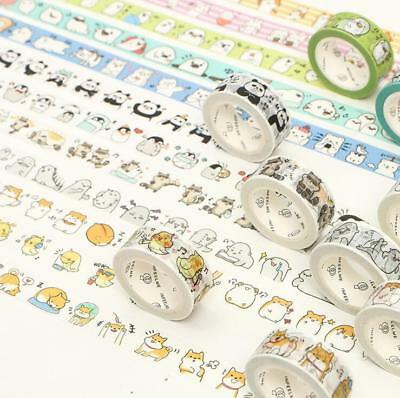 Cartoon Cute animal Decorative Sticky Washi Paper Tape Diary Album crafts 15mm