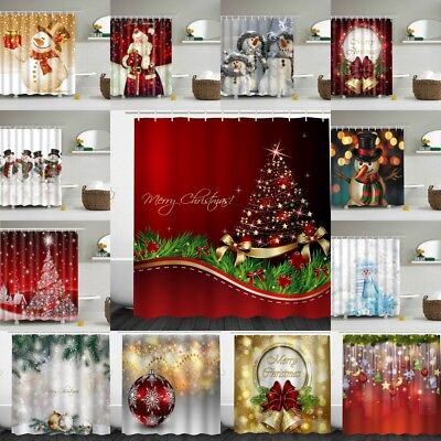 Christmas Snowman Fabric Waterproof Bathroom Shower Curtain 180*180 cm 12x Hook