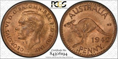 1942-I b Australia One Penny 1D PCGS GRADED MS64RB