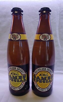 2 x Castlemaine Perkins Beer Bottles - Games Special: QLD Cricket Mighty Bulls