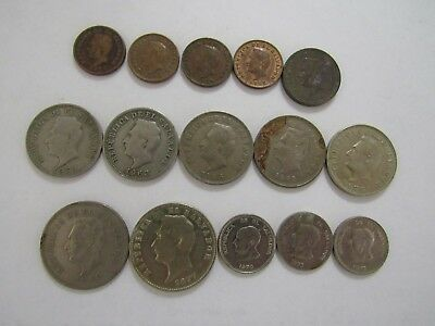 Lot of 15 Different Old El Salvador Coins - 1952 to 1977 - Circulated
