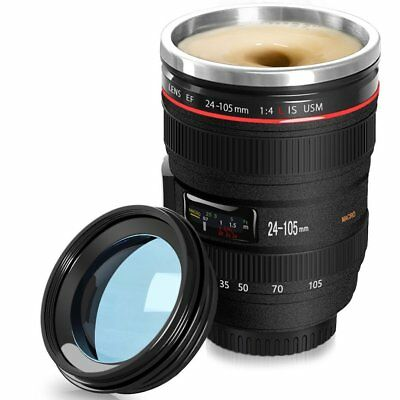Self Stirring Camera Lens EF 24-105mm Thermos Travel Tea Coffee Mug USA
