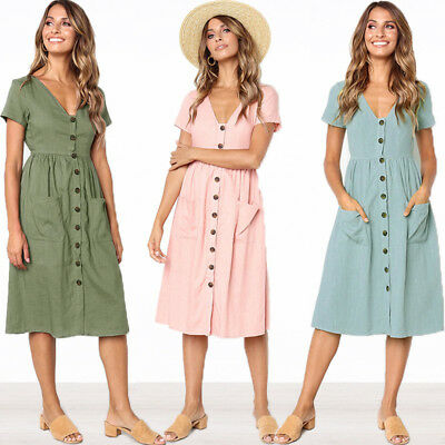 Women Summer V Neck Dress Beach Button Pocket Midi Swing Sundress Dress S-XL AU