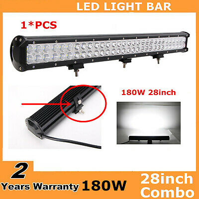 28Inch 180W CREE Led Work Light Bar Flood Spot Jeep SUV Boat Driving Lamp 30/32""