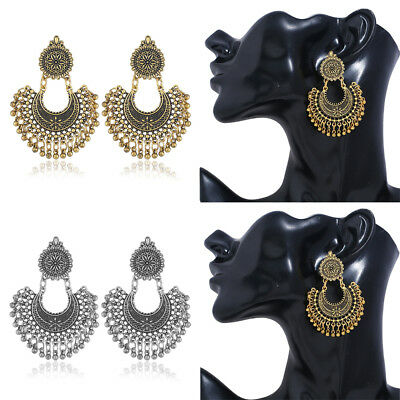 Ethnic Tribal Boho Tassel Dangle Stud Earrings Women Vintage Statement Jewelry