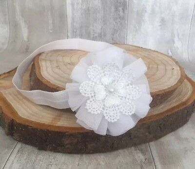 UK Baby White Christening Headband Baptism Wedding Photo Prop Flower Lace Halo