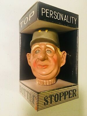 Vintage 1960's Charles DeGaulle Hand Painted Collectible Bottle Stopper - NEW!