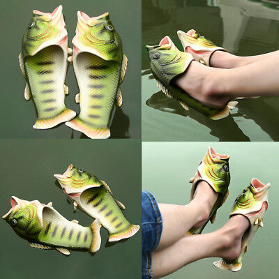 AU Unisex Fish Shower Funny Animal Slippers Beach Shoes Sandals Bling Flip Flops