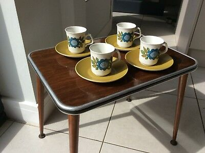 J & G MEAKIN Studio Topic 4 Cups & Saucers Blue Olive Green Funky Retro 60s 70s
