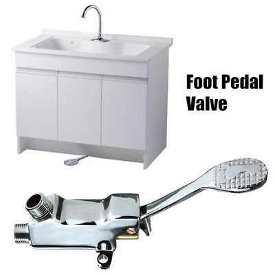 Floor Foot Pedal Control Switch Valve Faucet Copper Basin Single Cold Water