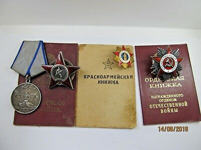 USSR Original 3 Order of The Red Star courage   Patriotic War & Document