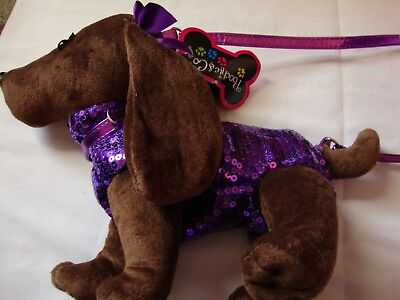 NEW! Poochie & Co Jingle Dachshund Puppy Purse Purple Sequins