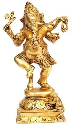 Handmade Dancing Lord Chaturbhuj Ganesha Brass Metal Statue Gift Mouse 8.5""