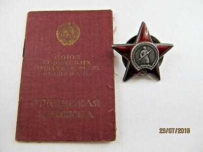 USSR Original Russian Soviet Order of The Red Star Medal Badge & Document