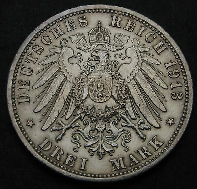 PRUSSIA (German State) 3 Mark 1913A - Silver - 25th Year of Reign - 2368