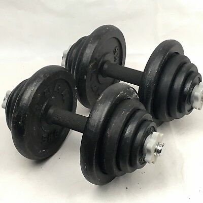 "York Cast Iron Dumbbell Sets 10kg 20kg 40kg - Bars, 1"" Weight Plates & Collars"