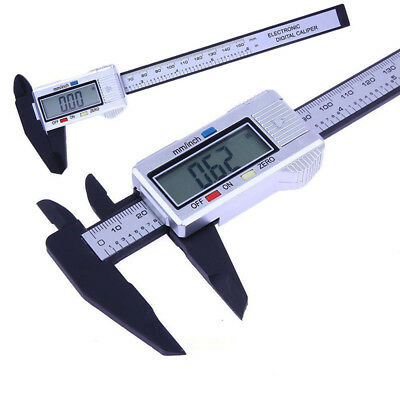 Carbon Fiber Vernier Caliper Electronic Micrometer Gauge Plastic 150mm LCD Part