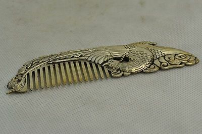 Old Collectibles Handwork Miao Silver Carving Phoenix Rare Lucky Comb a02