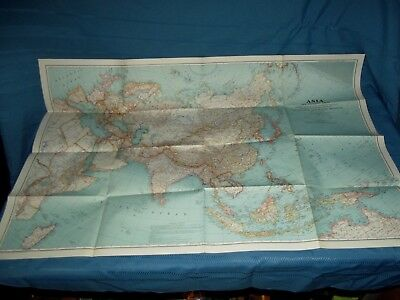 """Vintage NatGeo Map of Asia and Adjacent Areas 1942 WW2 era large poster 40"""""""
