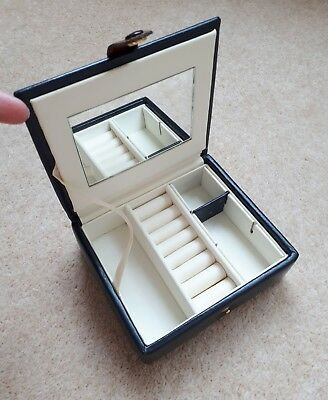 Dulwich Small Travel Jewellery Box, Navy Leather