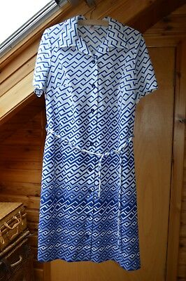 Vintage St Michael Dress, Blue and White Short Sleeve, Size 16/18.