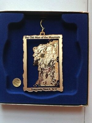 NEW The Old Man Of The Mountain Franconia Notch, NH Ornament 24k Gold Plated