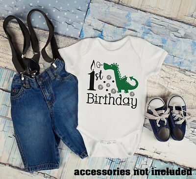 1st Birthday Boys Green Dragon Infant Baby Toddler Creeper Romper Mythical First