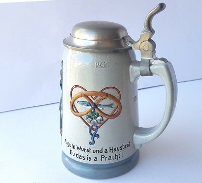 Mug/Beer Mug with Saying, Ceramics, Zinn-Montur, Protected, um 1900 AL688