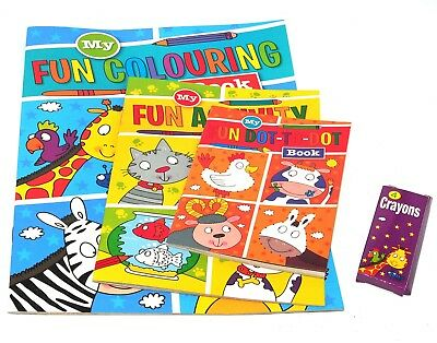 Childrens Kids Puzzle Colouring Activity Pack Fun Books Dot To Dot Crayons