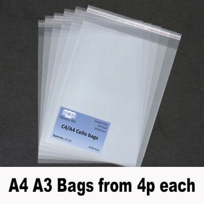 A4 A3 Cello Cellophane Bags with Self seal Strip C4 Crystal Clear Best Quality