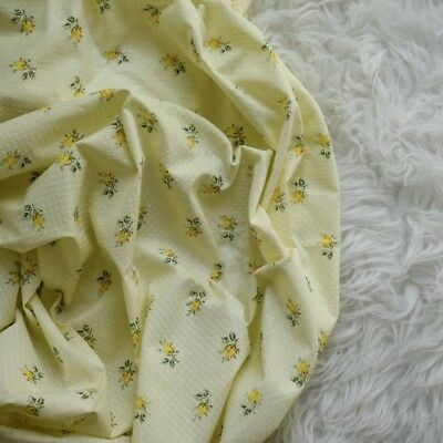 Vintage All In the Golden Afternoon FLOCKED Swiss Dot Fabric Yellow Roses +2yds