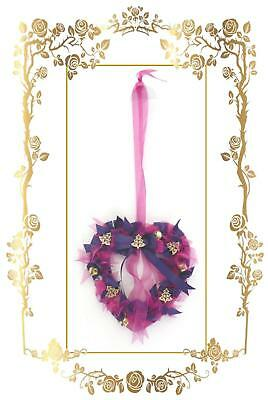 Handmade Heart Shaped Hanging Christmas Wreath ~ Purple and Pink