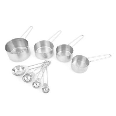 Kitchen Baking Cooking Stainless Steel Measuring Spoon Cup 8 in 1 Set Z5O9 vf