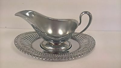 Silverplate Gravy Boat and Tray Sauce Two Pieces Very Attractive Vintage VG Cond