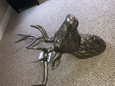 Moose Head With Antlers Metal Polished And Detailed Cast Aluminum!! L@@k!!