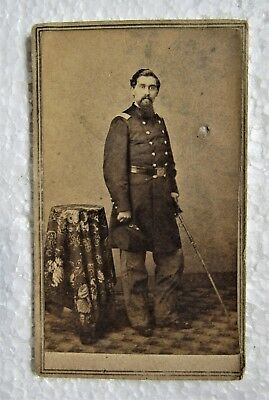 Civil War Paper Photo Standing Officer with Sword Soldier