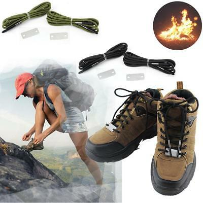 Hiking Flint Fire Flame Boot Shoelaces Survival Lighter Stick String Rope CB