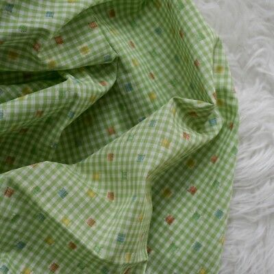 Vintage Pretty Picnic Green Gingham FLOCKED Colorful Squares Fabric +1.5yds