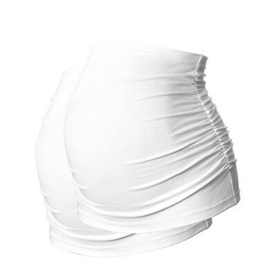 Plus Size Ruched Maternity BellyBands/BumpBands by Harry Duley. Pack of 2 White