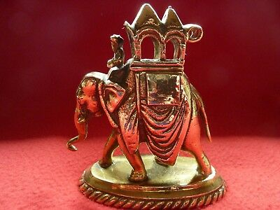 Vintage Brass Elephant on Stand with Howdah and Mahout - Height 9cm
