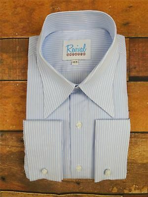 Revival Blue Stripe Spearpoint Collar 1930s 40s Vintage Style Mens Cotton Shirt