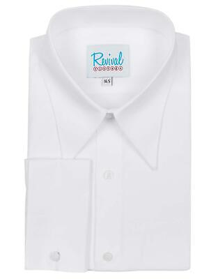 Revival White Spearpoint Collar 1930s 40s Vintage Style All Cotton Mens Shirt