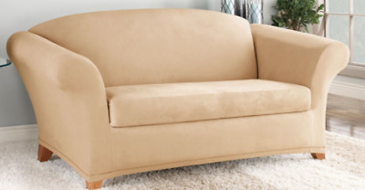 Tremendous Sure Fit Loveseat Slipcover In Stretch Suede Camel For Box Unemploymentrelief Wooden Chair Designs For Living Room Unemploymentrelieforg